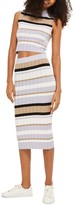 Topshop Women's Stripe Knit Midi Skirt