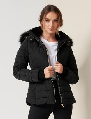 Forever New Lisa Short Puffer Jacket - Black - 10