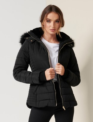 Forever New Lisa Short Puffer Jacket - Black - 4