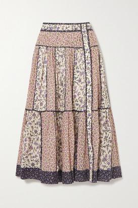 Ulla Johnson Josephine Tiered Floral-print Cotton-blend Voile Midi Skirt - Cream