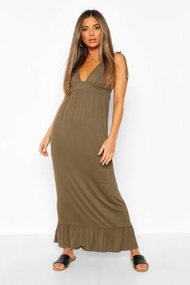 boohoo Petite Tie Strap Jersey Maxi Dress
