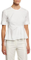 Veronica Beard Short-Sleeve Stretch Poplin Peplum Top, White