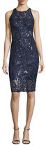 Aidan Mattox Embellished Lace Sleeveless Sheath Cocktail Dress