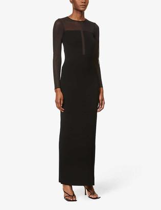 Reiss Sabrina semi-sheer knitted maxi dress