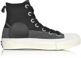 McQ Black Canvas Plimsoll High Sneakers