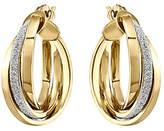 QVC 14K Gold Glitter & Polished Hinged Hoop Earring