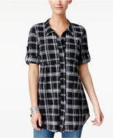 Style&Co. Style & Co Petite Plaid Empire Tunic Shirt, Only at Macy's