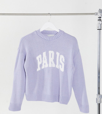 ASOS DESIGN Petite jumper with Paris logo in blue