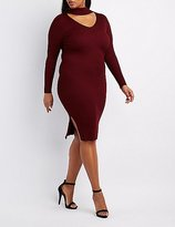 Charlotte Russe Plus Size Ribbed Turtleneck Cut-Out Dress