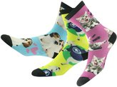 Funky Men's Graphic Socks, J'colour Boys' Girls' Unisex Crazy Patterns Soft Seamless Lovely Cat Print Casual Gift Holiday Socks 1 Pair,Thinking Cat&White