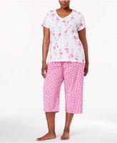 Hue Plus Size Printed Top and Capri Pants Knit Pajama Set