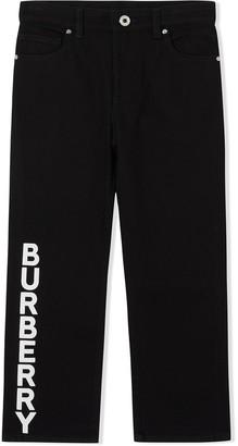BURBERRY KIDS logo print Japanese denim jeans