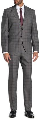 BOSS Gray Checkered Two Button Notch Lapel Virgin Wool Regular Fit Suit