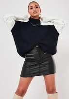 Missguided Navy Turtle Neck Contrast Sleeve Sweater