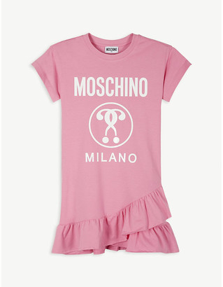 Moschino Logo-print ruffle-hem cotton T-shirt dress 4-14 years