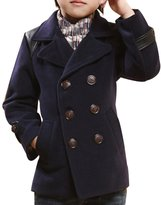 JiaYou Boy Child Kid Lapel Double Breasted Pea Coat(,Height 55-59Inches)