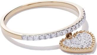 As 29 18kt yellow gold Mye heart beading pave diamond ring