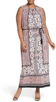 London Times Plus Size Women's Lace Print Belted Maxi Dress