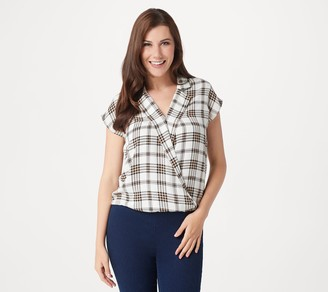 Vince Camuto Plaid Notch Collar Wrap-Front Blouse