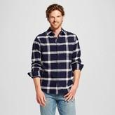 Merona Men's Plaid Crepe Flannel Button Down Shirt Navy