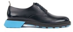 HUGO BOSS Derby Shoes In Leather With Chunky Pop Color Sole - Dark Blue