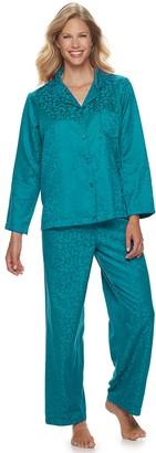 Miss Elaine Women's Essentials Brushed Back Satin 2-Piece Pajama Set