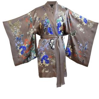 MENG Chocolate And Blue Silk Satin Short Kimono