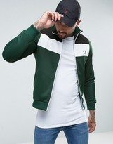 Fred Perry Sports Authentic Colour Block Track Jacket In Green