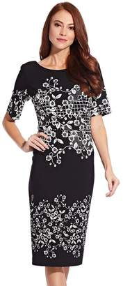 Adrianna Papell Womens Black Blooming Trellis Sheath Dress - Black