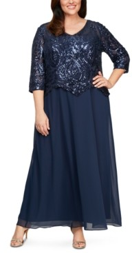 Alex Evenings Plus Size Sequinned-Bodice Gown