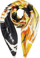 Laura Biagiotti Abstract Floral Print Twill Silk Square Scarf