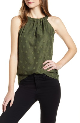 Loveappella Clip Dot Halter Neck Sleeveless Top