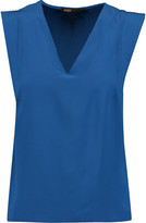 Maje Quilted silk-chiffon top