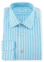 Kiton Bold-Stripe Dress Shirt, Aqua/White