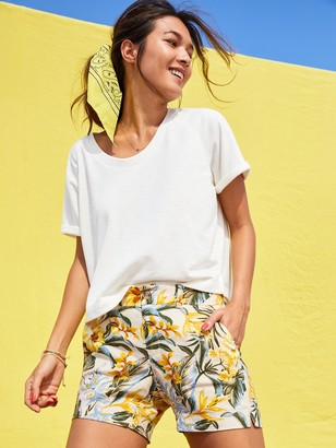 Old Navy Mid-Rise Everyday Printed Linen-Blend Shorts for Women -- 5-inch inseam