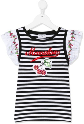 MonnaLisa cherry and stripe print T-shirt