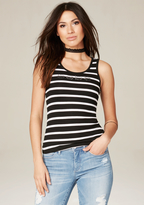 Bebe Logo Lace & Stripes Tank