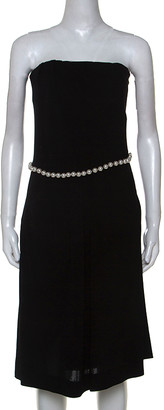 Chanel Black Stretch Crepe Pearl belted Strapless Dress M