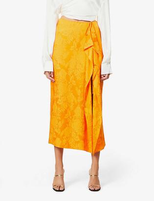 ATTICO Floral jacquard-pattern high-waist woven midi skirt