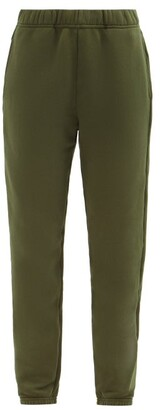 LES TIEN Brushed-back Cotton Track Pants - Khaki