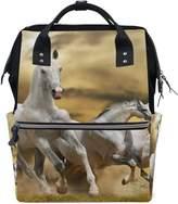 ALIREA Horse Running Grass Diaper Bag Backpack, Large Capacity Muti-Function Travel Backpack