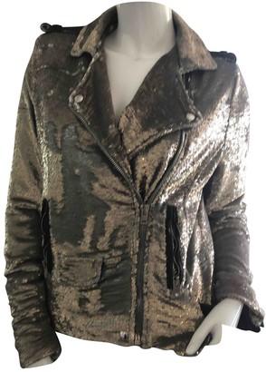 IRO Gold Glitter Leather Jacket for Women