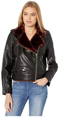 Blank NYC Vegan Leather Moto Jacket with Faux Fur Lining (Dreamers) Women's Clothing