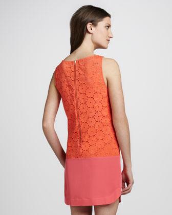 Ali Ro Sleeveless Eyelet Lace Combo Colorblock Dress