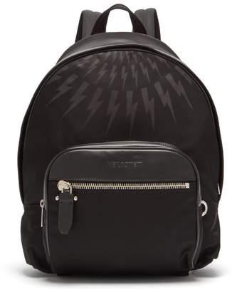 Neil Barrett Lightning Embossed Leather Trimmed Backpack - Mens - Black Multi