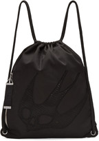 McQ by Alexander McQueen Black Nylon Embroidered Rucksack
