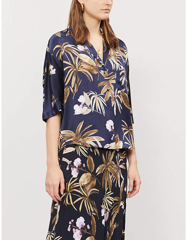 Vince Floral-pattern relaxed-fit satin shirt