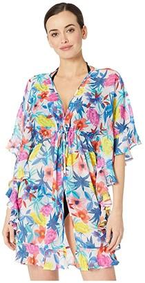 Bleu Rod Beattie A Place in the Sun Open Front Ruffle Caftan Cover-Up (Multi) Women's Swimwear