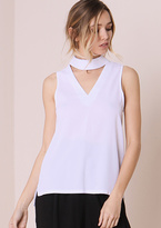 Missy Empire Evelyn White High Neck Cut Out Cami Top
