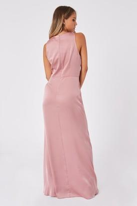 Little Mistress Bridesmaid Rosetta Dusty Blush Satin Halterneck Maxi Dress